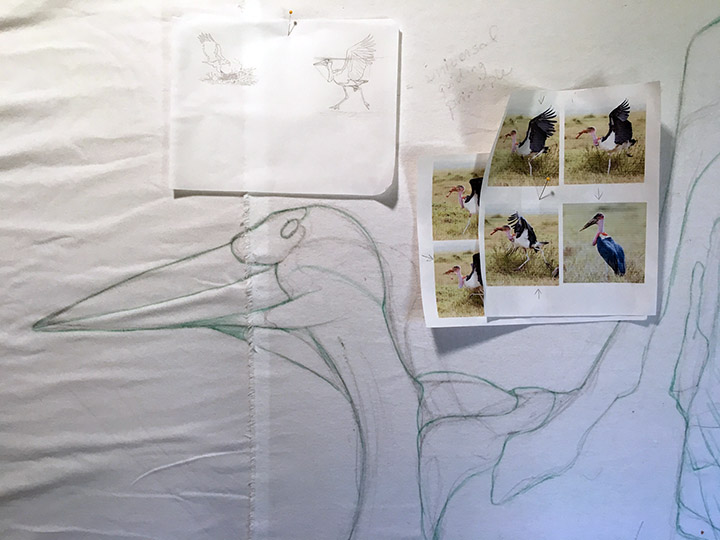 In Progress: Marabou Stork for Special Exhibit at IQF