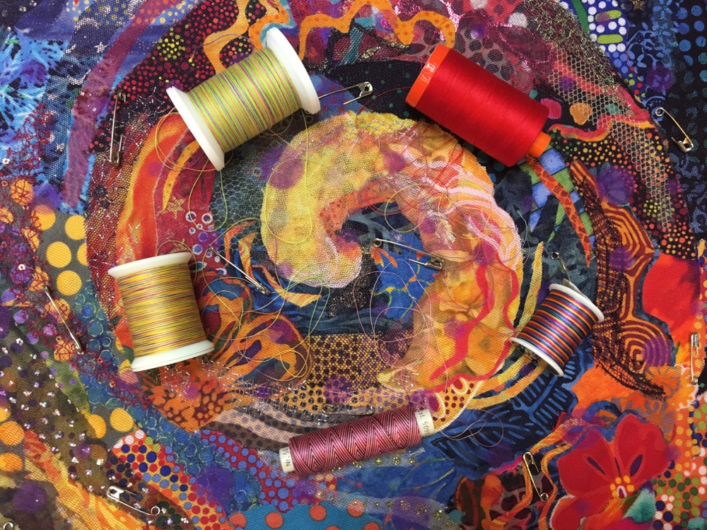 Free-Motion Quilting on Fabric Collage Quilts