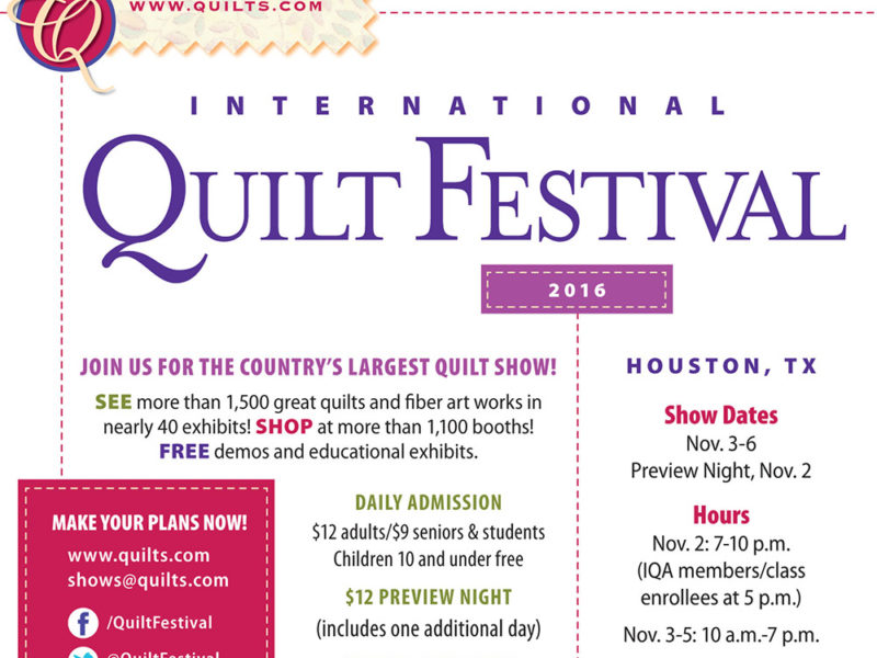 Specimens Exhibit Opens at International Quilt Festival